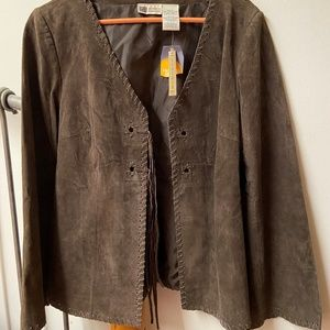 Brown Suede Boho Hippy Jacket - Faded Glory
